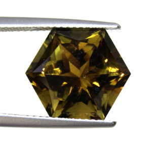 7 carat Golden Tourmaline hexagon