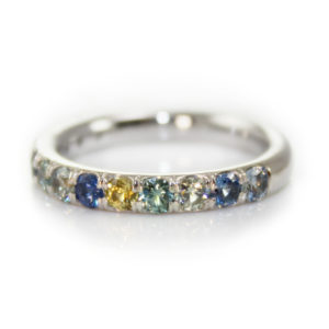 Montana Sapphire multi colored 14kt white gold ring.