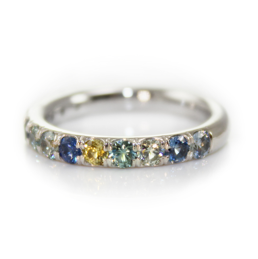 Montana Sapphire Multi Colored 14kt White Gold Ring