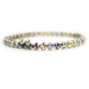 Montana Sapphire multicolored 14kt white gold tennis bracelet from Americut Gems