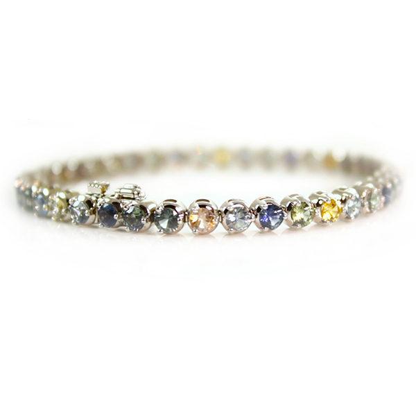 Montana Sapphire multicolored 14kt white gold tennis bracelet from Americut Gems