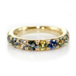 Montana Sapphire Multi Colored 14kt Yellow Gold Ring.