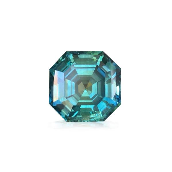 Blue-Green Montana Sapphire-Asscher Cut 3.76cts 118008
